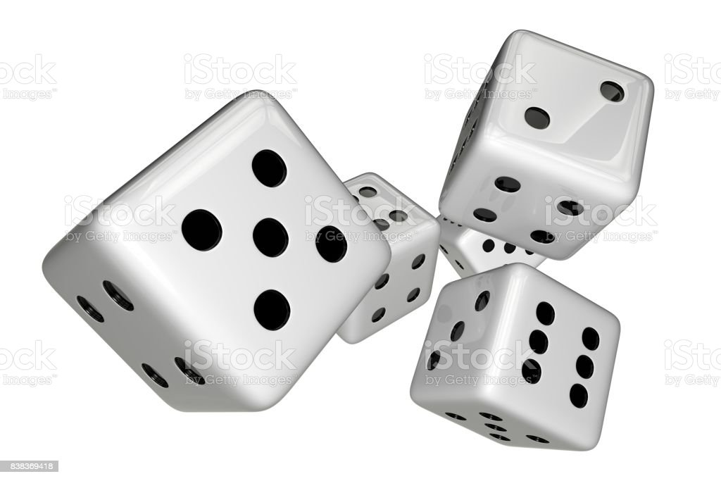 White Dices Isolated on White stock photo