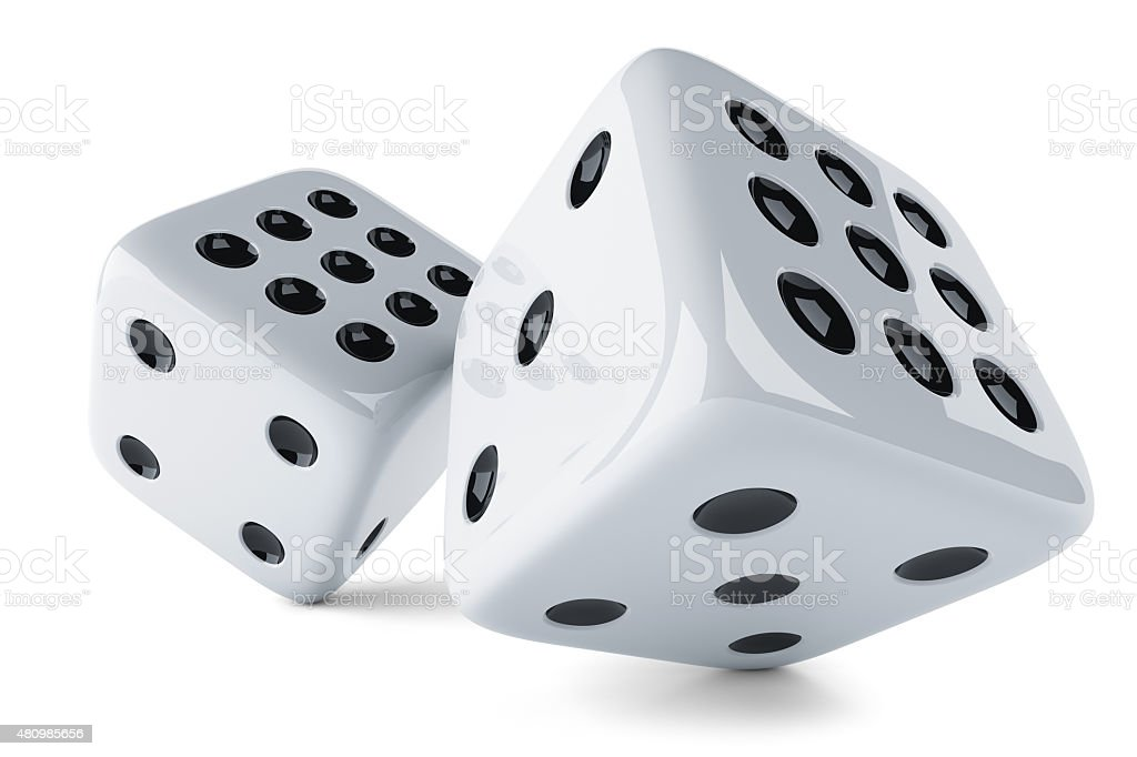 White dices stock photo