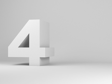White digit four installation in an empty studio room, 3d rendering illustration