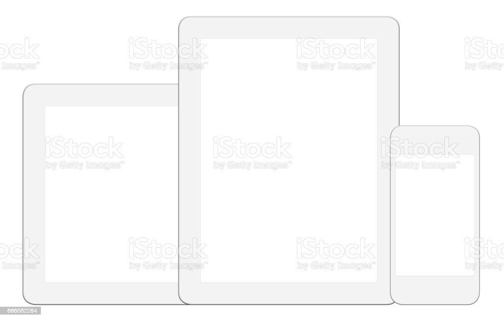 White Digital Tablet and Smart Phone - Clipping Path royalty-free stock photo