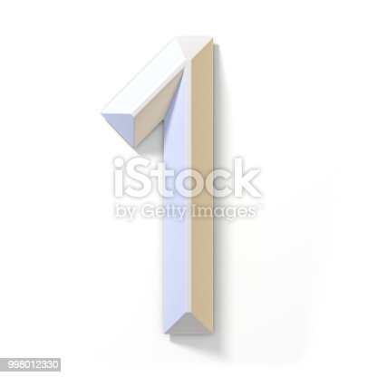 583977832 istock photo White dimensional font number 1 ONE 3D 998012330