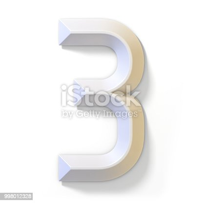 istock White dimensional font number 3 THREE 3D 998012328