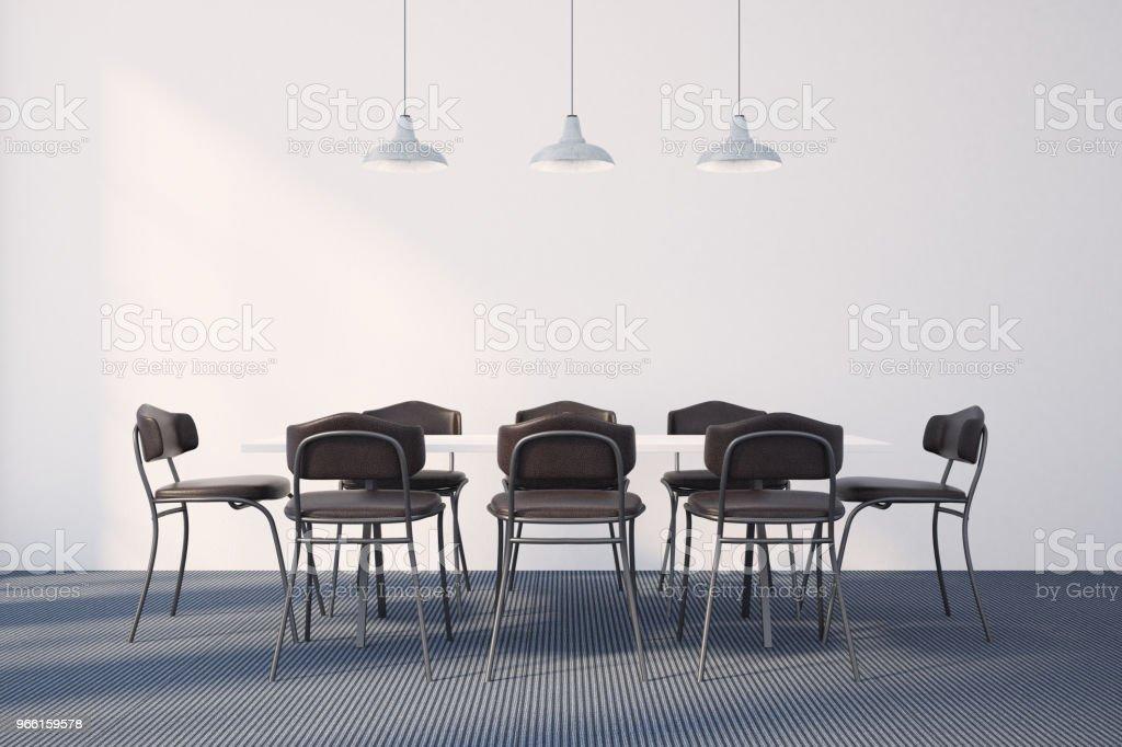 Vita matsal interiör, minimalism - Royaltyfri Boningsrum Bildbanksbilder