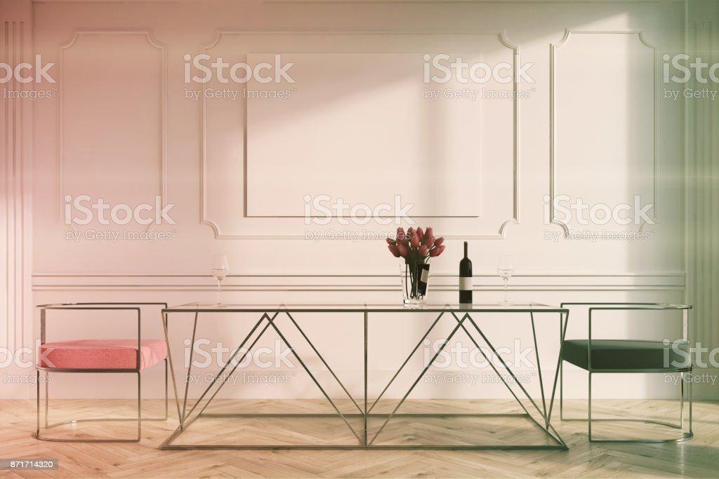Getonten Weissen Esszimmer Rosa Graue Stuhle Poster Stockfoto Und