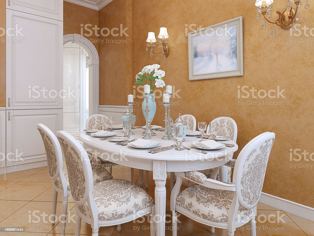 White Dining Table With Six Chairs In A Classic Style Stock Photo    Download Image Now