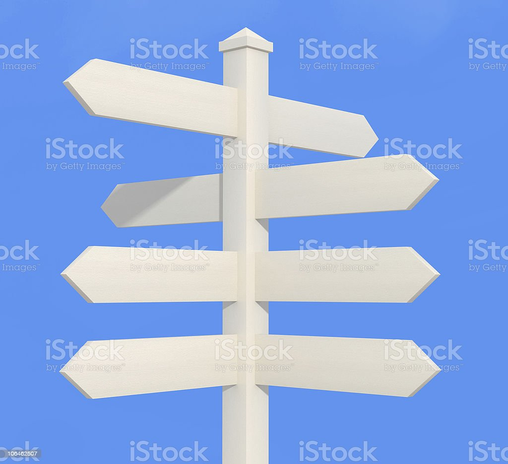 white directional sign post royalty-free stock photo