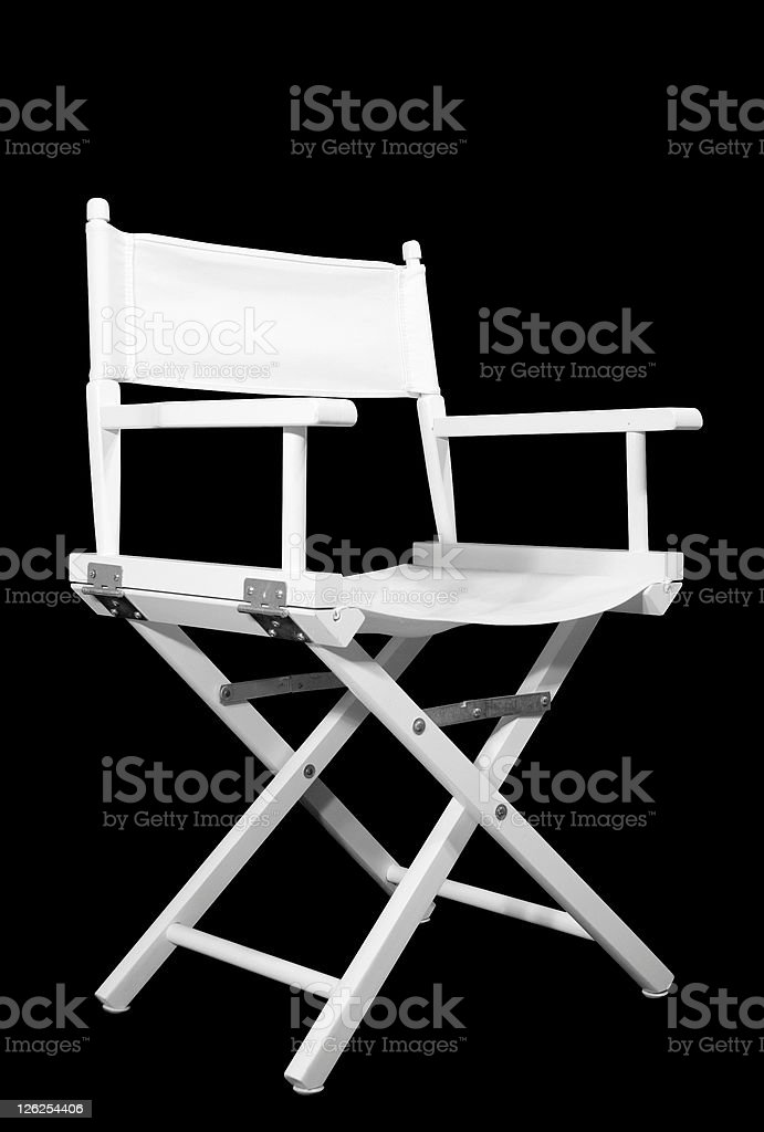 White directors chair on black background with path royalty-free stock photo