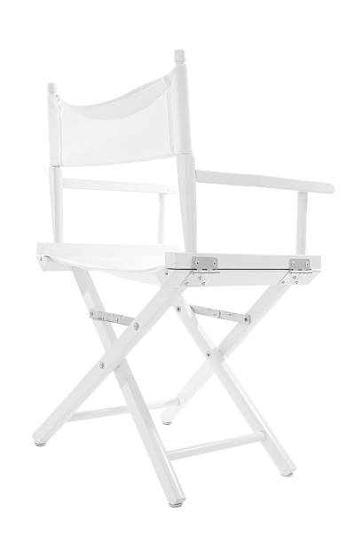 White directors chair on white background with path stock photo