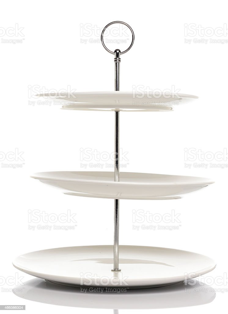 White dish serving stand 3 tiers stock photo