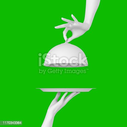 istock White Dish with lid holding hands isolated, opened restaurant cloche, launch time promo banner concept.  3d rendering 1170343364