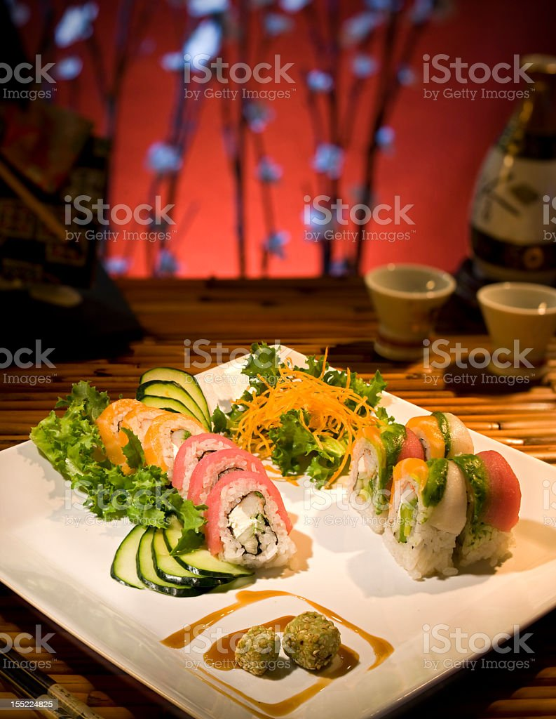 A white dish with sushi for lunch stock photo