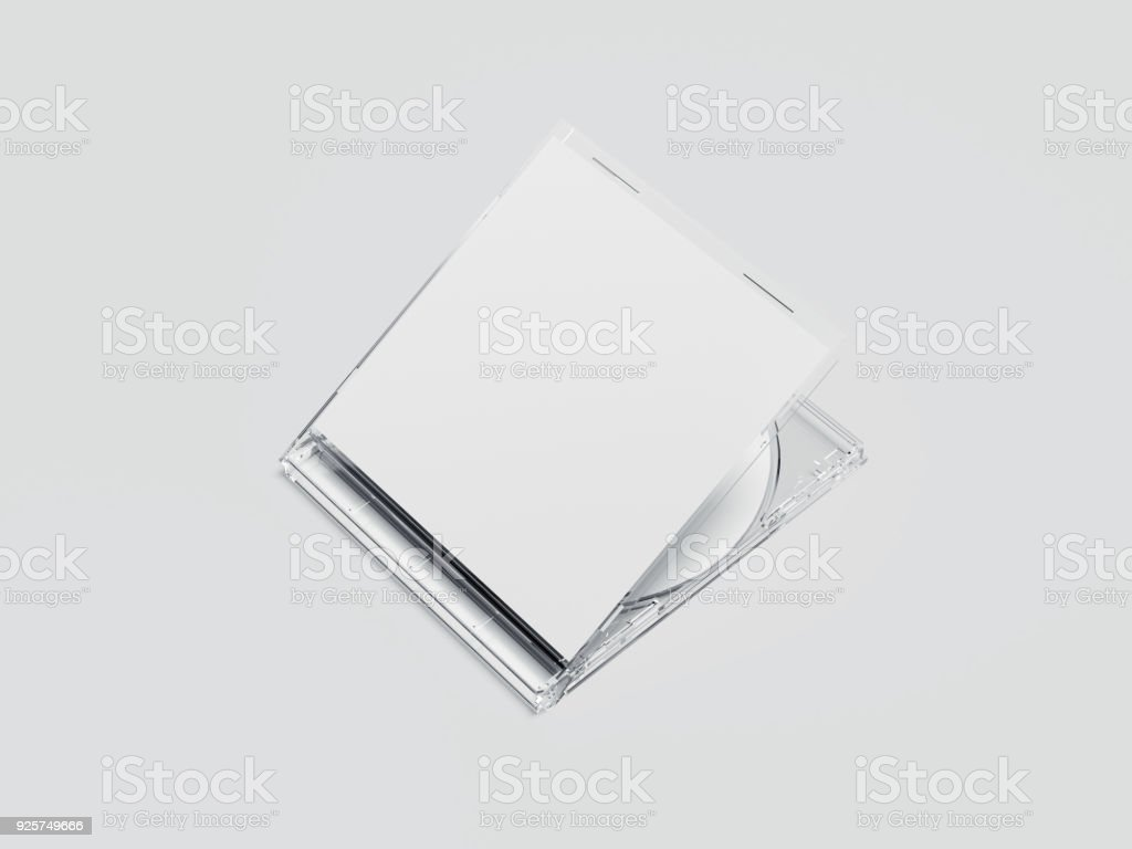 White disk with transparent package and blank label. 3d rendering stock photo