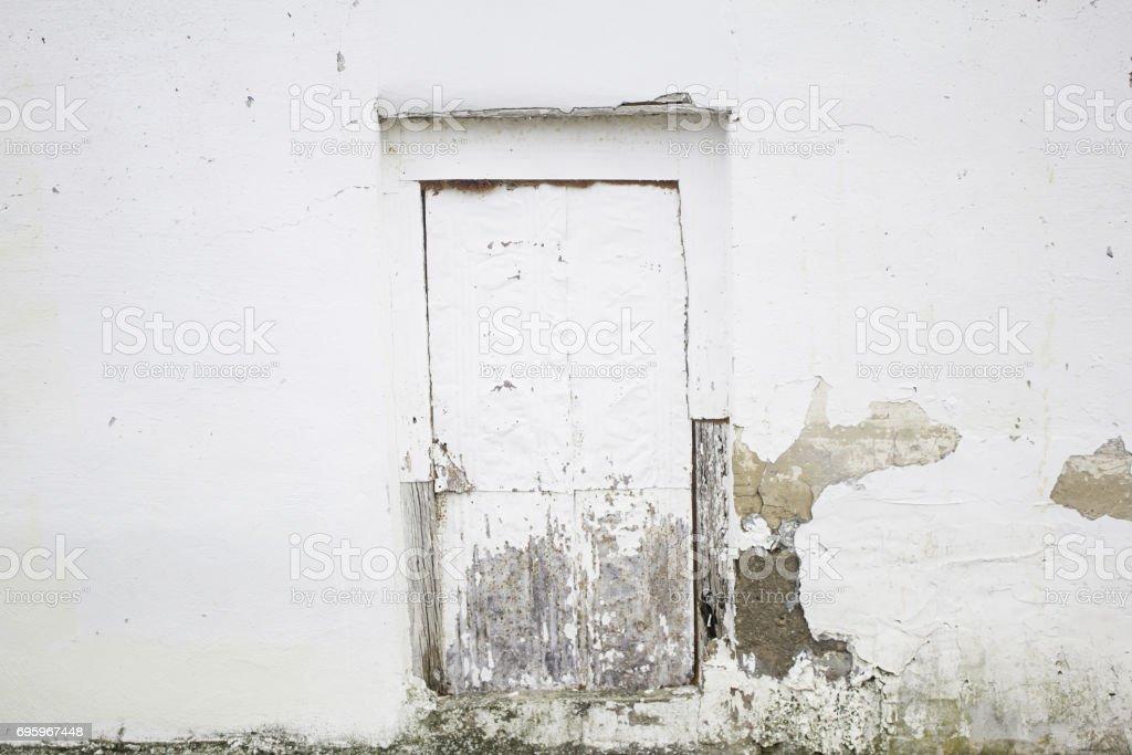 White door broken stock photo