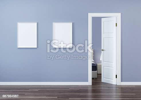 istock White door in the interior with a blue wall. 3D rendering. 687964582