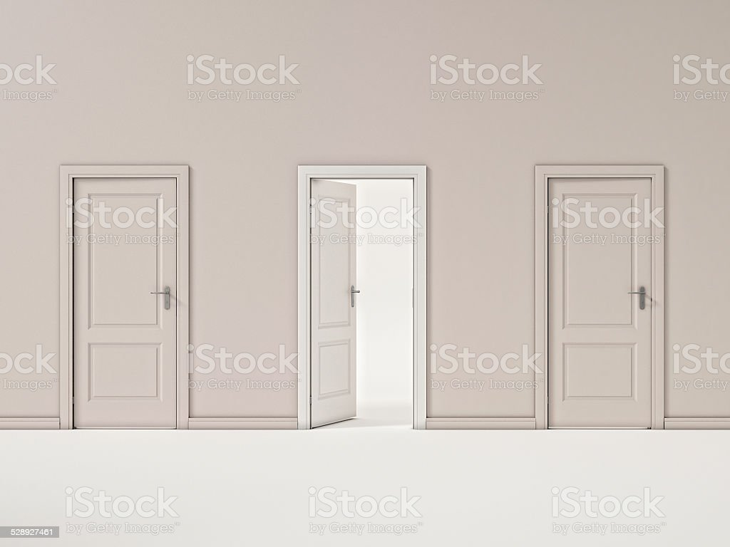 White Door on Beige Wall, Illustration Business Door stock photo