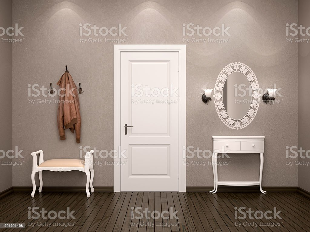 White door on the output or input. stock photo