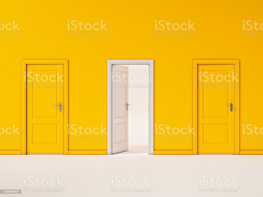 White Door on Yellow Wall, Illustration Business Door stock photo