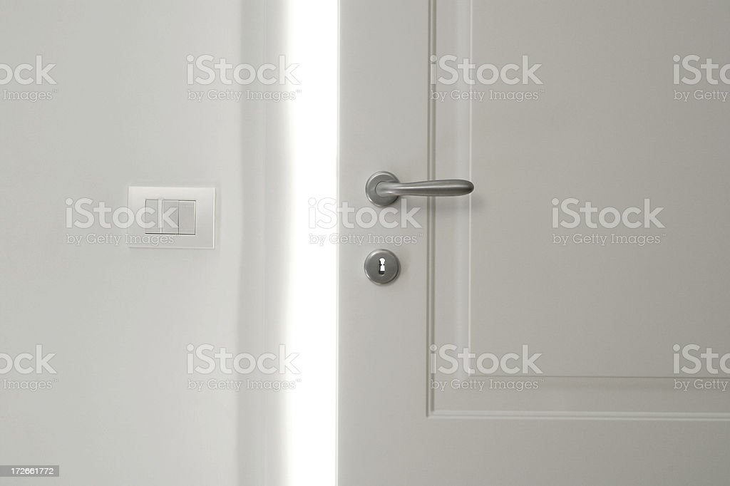 White Door Opening 2 stock photo