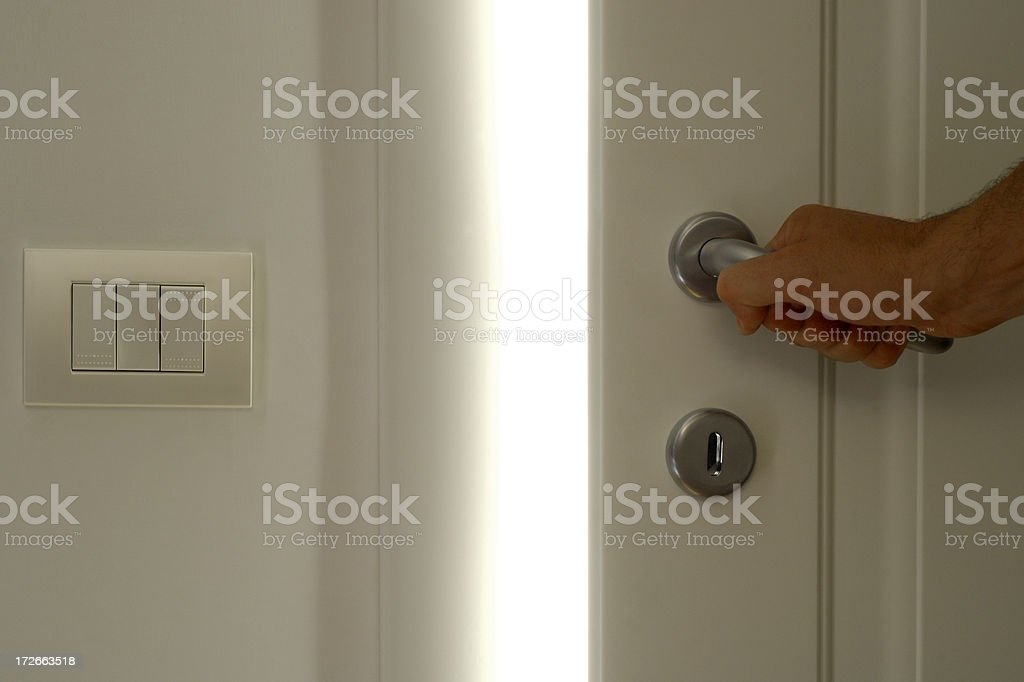 White Door Opening 4 stock photo
