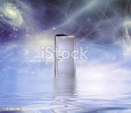 Surrealism. White door symbolizes portal to another dimension