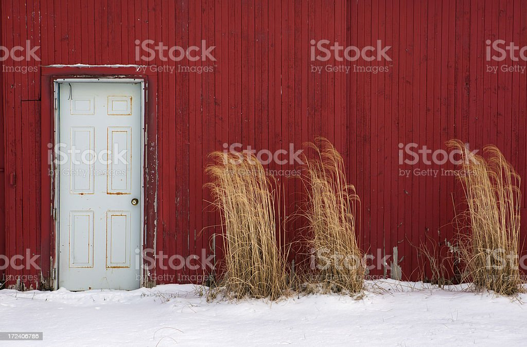 white door red wall snow royalty-free stock photo