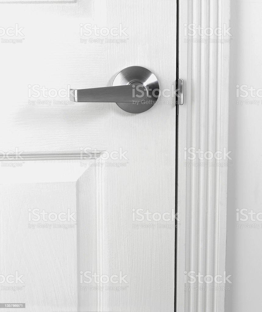 White door with doorhandle royalty-free stock photo