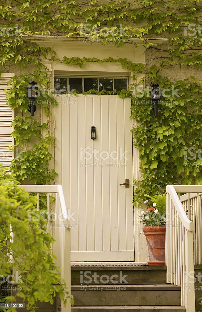 White Door with porch royalty-free stock photo