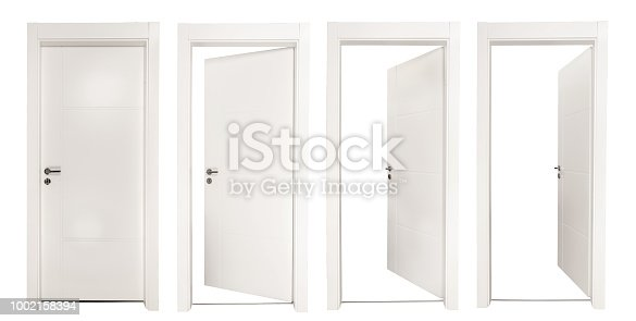 White doors isolated on white background high quality and high resolution studio shoot