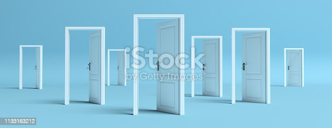 istock White doors opened on blue background, banner. 3d illustration 1133163212