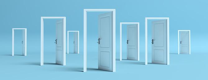 istock White doors opened on blue background, banner. 3d illustration 1133163212