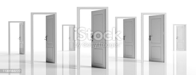 istock White doors opened on white background, banner. 3d illustration 1133163222