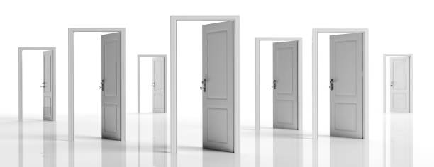 white doors opened on white background, banner. 3d illustration - porta foto e immagini stock