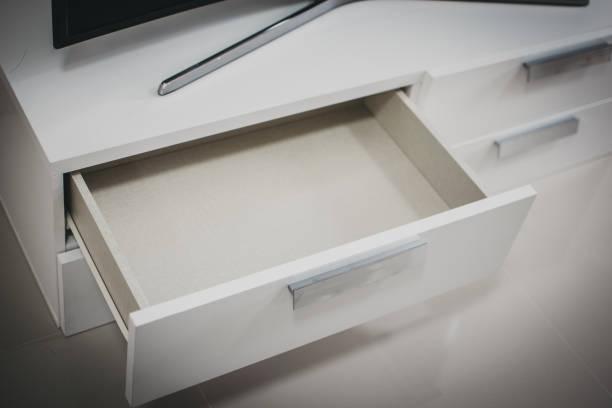 White drawer open stock photo