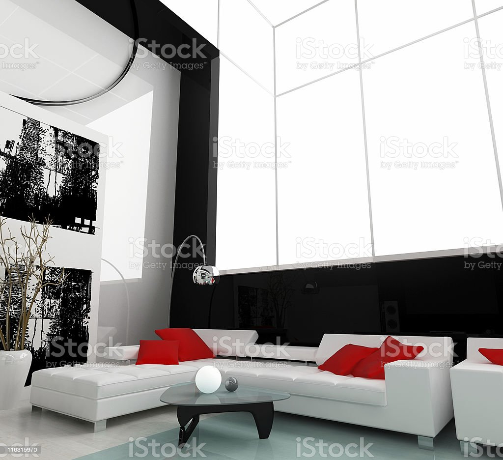 white drawing room royalty-free stock photo