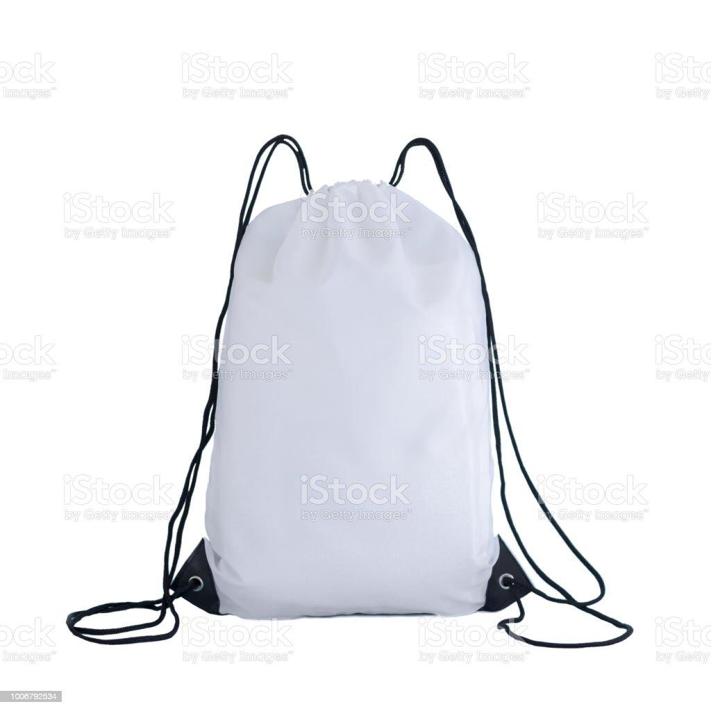 Weiße Kordelpackvorlage Tasche Für Sportschuhe Die Isoliert