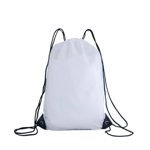 wit koord pack sjabloon, bag voor sportschoenen geïsoleerd op wit - zak tas stockfoto's en -beelden
