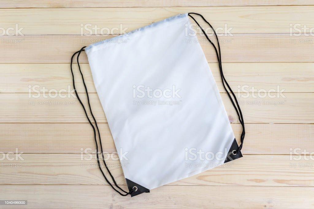 Weiße Kordelpackvorlage Mockup Tasche Für Sportschuhe Stockfoto und mehr Bilder von Accessoires