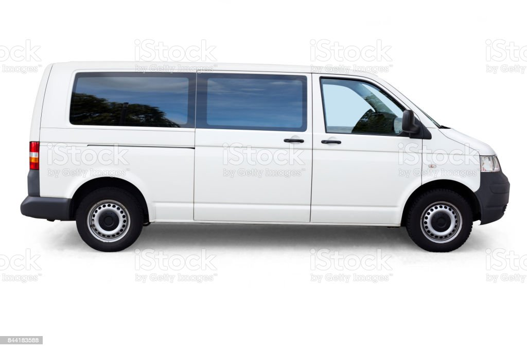 White dropping shadow minivan on white stock photo