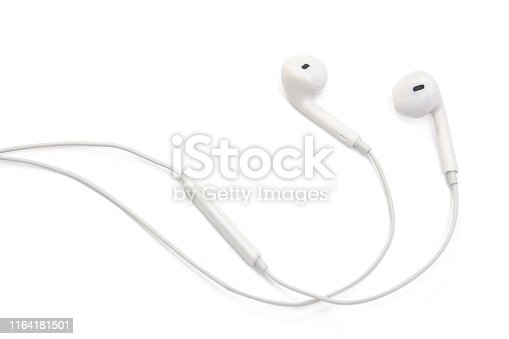 white earphones isolated on white background with clipping path