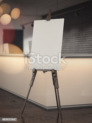 istock White easel stands in reception waiting area, 3d rendering 985650892