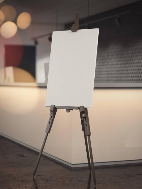 white easel stands in reception waiting area, 3d rendering - statyw zdjęcia i obrazy z banku zdjęć