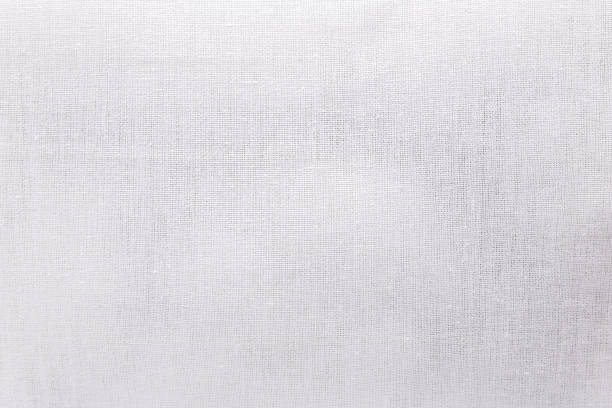 White ecology fabric texture background. Blank canvas textile material or calico cloth. stock photo