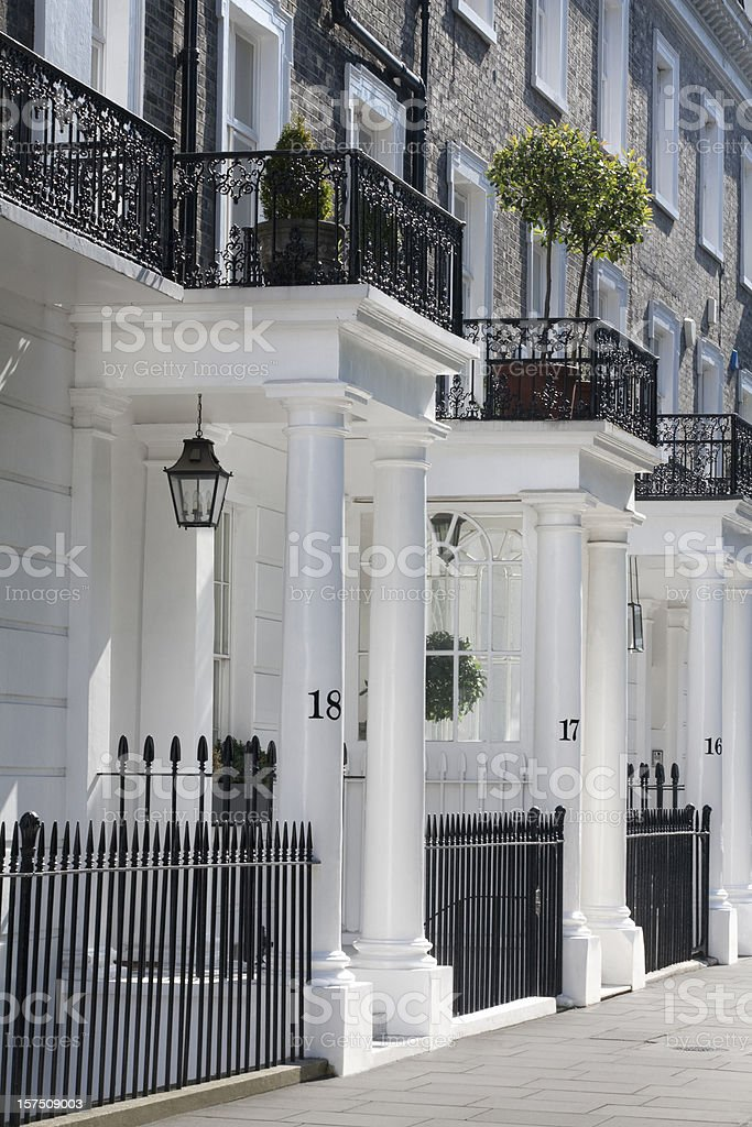 White Edwardian Houses, West London stock photo