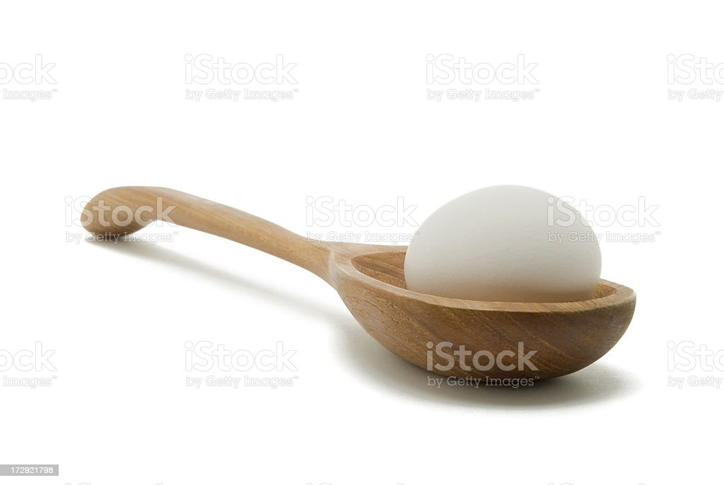 White Egg in Wooden Spoon royalty-free stock photo