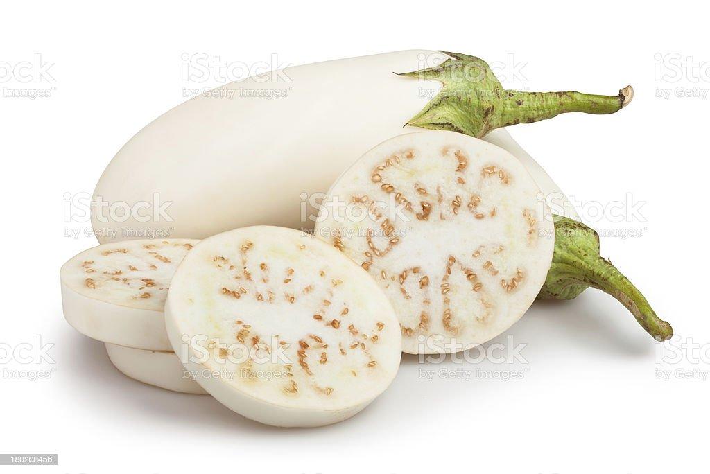 white eggplant cut stock photo