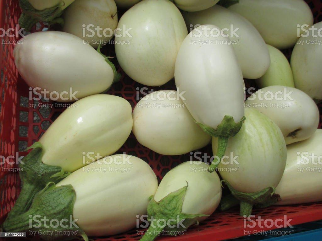 White eggplants Market stall stock photo