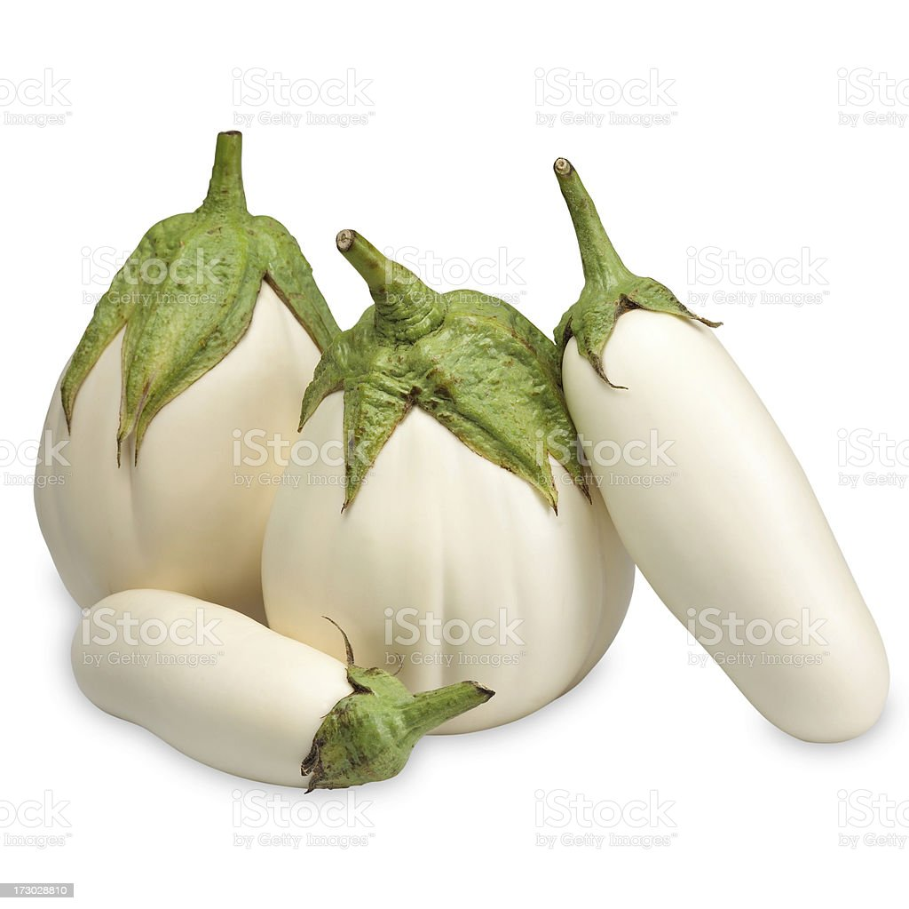 White eggplants stock photo
