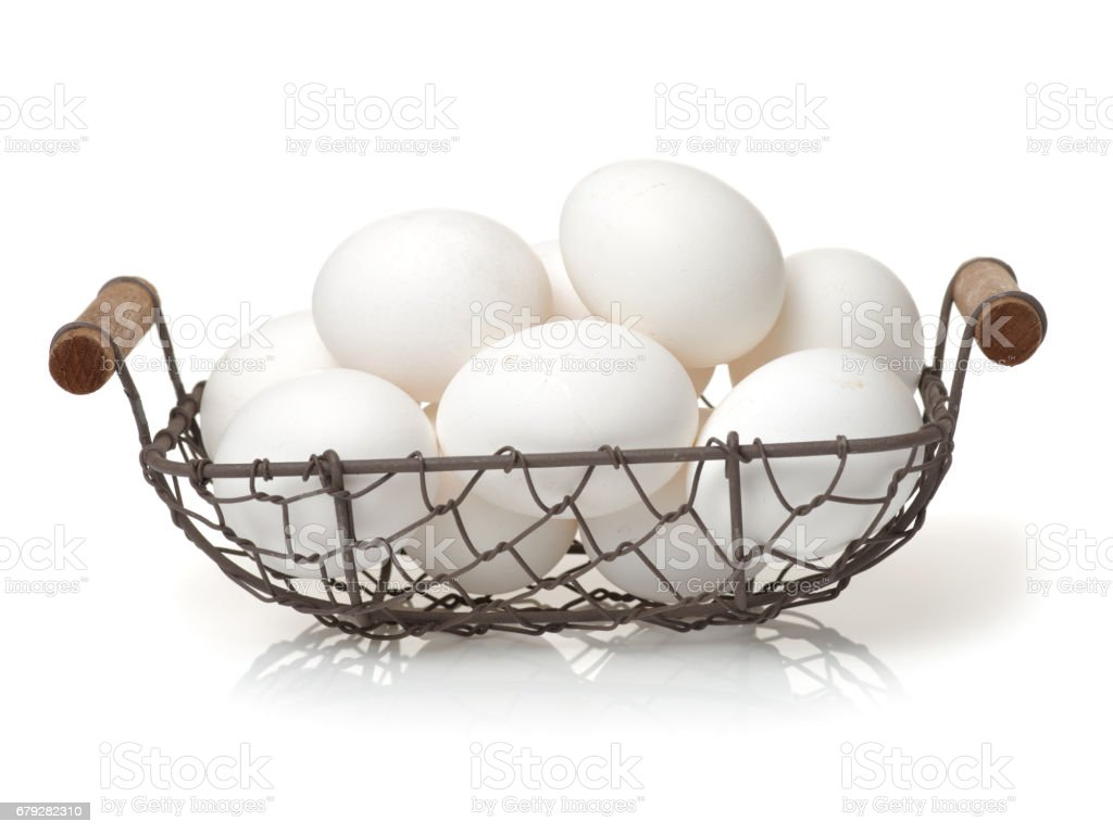 White Eggs on Duck-shaped Wire Basket  on white background stock photo