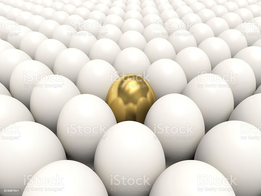 White eggs with golden egg among them. 3d render illustration. stock photo