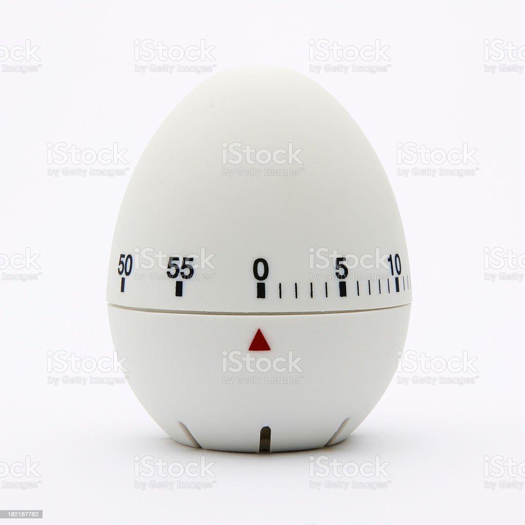 White egg-shaped kitchen timer isolated on white background stock photo